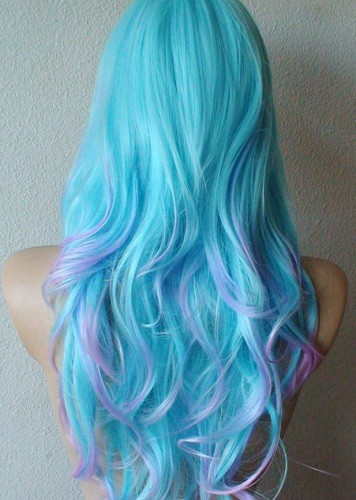 Mesmerizing Aqua Rush Splat Hair Color to Rock