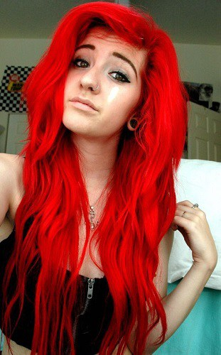 Funky Red Splat Hair Color Ideas for Girls