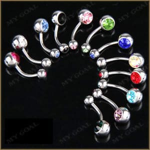 Double navel piercing barbells