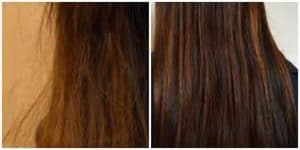 Picture before and after coconut oil for hair treatment